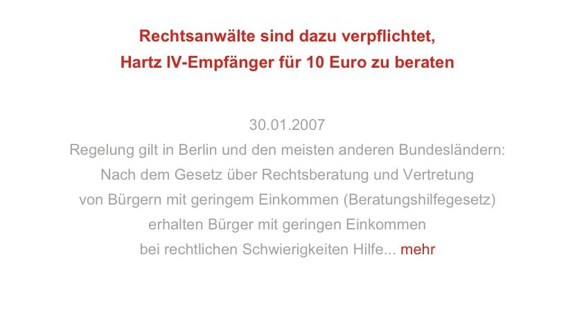 Rechtsanwälte sind dazu verpflichtet, Hartz IV-Empfänger für 10 Euro zu beraten