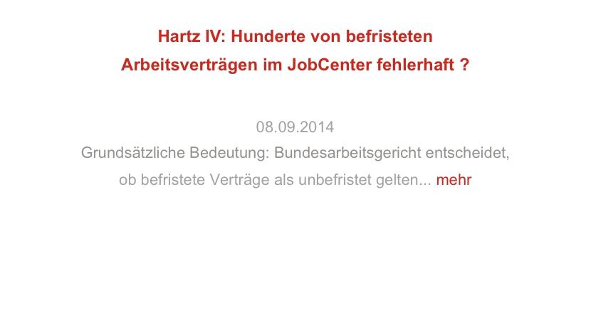 Hartz IV: Hunderte von befristeten Arbeitsverträgen im JobCenter fehlerhaft?