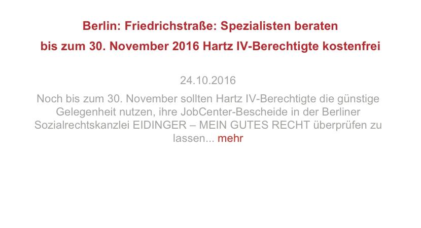 Berlin: Friedrichstraße: Spezialisten beraten bis 30. November Hartz IV-Berechtigte kostenfrei